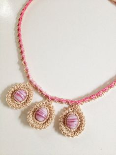 3 rose bead collar crochet necklace by GabyCrochetCrafts on Etsy, £18.00
