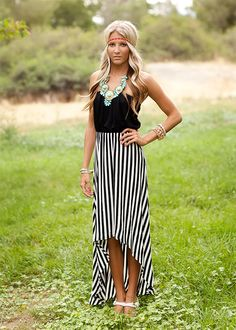 Black Tube Top Striped Hi Lo Dress
