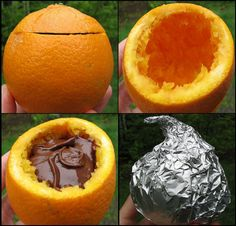 Campfire Brownies in an orange: at least 1 orange per camper, Brownie or cake mix, 1 sharp knife, Sturdy soup spoons, Heavy foil wrap. Notes: For brownie mix you will get approx. 8 – 10 desserts. Cake mix will yield approx. 12 – 16 desserts.