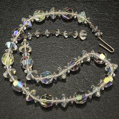 Austrian Crystal Aurora Borealis Choker Vtg Necklace