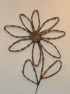 Rustic Western Rusty Barbed Wire Sunflower Wall Decor