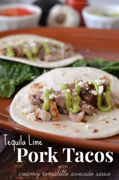 Tequila lime pork tacos from @Danielle Lampert Simmons