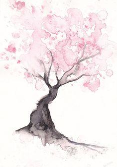 watercolour blossom tree