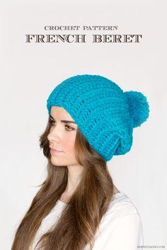 French Pompom Beret Crochet Pattern