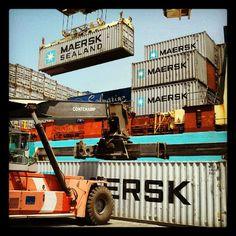 Port operations in Praia, Cabo Verde. Loading onto Troense Mærsk. Instagram by @maranus.