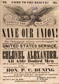 ... 1861 Indiana Civil War Recruiting Poster, - Cowan's Auctions