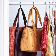 Use Shower Curtain Hooks In the Closet as Bag and Tie Hangers