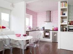 Różowa kuchnia w stylu glamour
