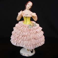 Very Pretty Antique German Porcelain Dresden Lady Dancer Doll Figurine Figure | eBay
