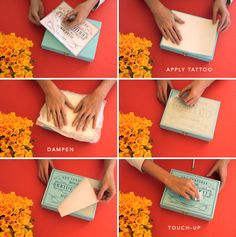 DIY: Temporary tattoo paper is used to transfer a print to a painted box