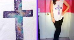 DIY Galaxy Cross Shirt