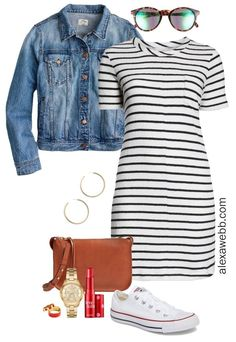 Plus Size Striped Dress Outfit Ideas - Black and White Striped Casual Dress, Crossbody Bag, Sneakers - Plus Size Fashion for Women - alexawebb.com #plussize #alexawebb