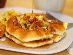 Eggs and Bacon Pancakes. Swap the bacon for sausage and I'd be a happy lady!