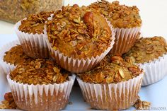 Carrot & Zucchini Whole Grain #HealthyMuffins. They're SO GOOD!!