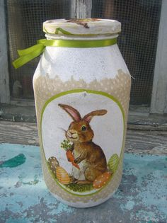 Decoupage Ideas: Bunny Jar from Busy and Happy Mom