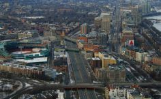 Mass. Pike West -  see Citgo sign on right and Fenway Park on left