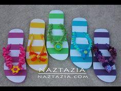 ▶ Learn How to Crochet - Flip Flops Sandals Shoes Beach with Beads, Ruffle Yarn, Pom Pom Yarn, Fur - YouTube