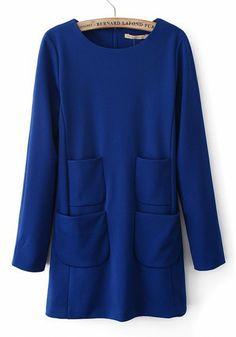 Blue Plain Round Neck Short Cotton Blend Dress