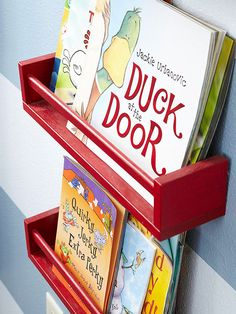 Thanks to a coat of paint, these basic spice racks are now the perfect place to store children's books! More tips for an organized home: http://www.bhg.com/decorating/storage/organization-basics/organized-home/?socsrc=bhgpin083013bookshelves=27