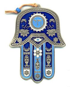 """The hamsa (Arabic: خمسة khamsah, also romanized khamsa, meaning lit. """"five"""") is a palm-shaped amulet popular throughout the Middle East and North Africa, and commonly used in jewellery and wall hangings.[1][2] Depicting the open right hand, an image recognized and used as a sign of protection in many societies throughout history, the hamsa provides superstitious defense against the evil eye."""