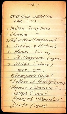 Jack Kerouac's reading list, 1940 - age 18.