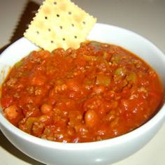 Paula Deen's Spicy Chili  I can't say that I am a fan of Paula Deen because she is definitely not known for her low fat recipes but I found this one that had good reviews (and did not include butter!)so thought I would give it a try. It has a kick which we loveso if you do not like spicy food, this one is not for you.