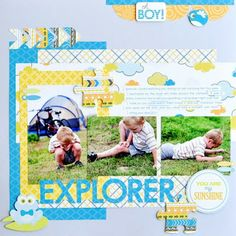 creative memories tiny treasures scrapbook layouts | so i hope you will join me and the other memori scrapbook, scrapbook inspir, layout idea, creativ memori, scrapbook layouts, scrapbooklayout, scrapbook idea, boy layout, boy explor