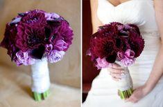 Another deep purple dahlia bouquet