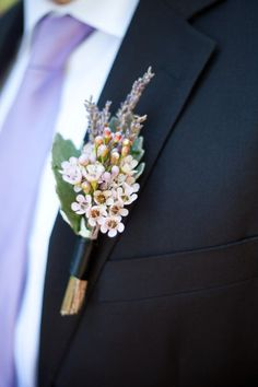 love this for a boutineer. almost want exactly this. wax flowers and lavender bouquet, idea, wedding boutonniere, event planning, flower pins, pale pink, flowers, boutonnieres, wax flower