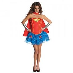 The Secret Wishes Wonder Woman with Tutu Skirt is a costume that comes with a glittery tutu skirt, foam corset, cape, and silver gauntlets.