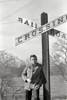 Johnny Cash in 1968, near the Arkansas farm where he grew up.