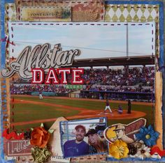 Allstar Date Night - Scrapbook.com - Use an enlarged photo as your focal point and layer a smaller photo with embellishments over for details.