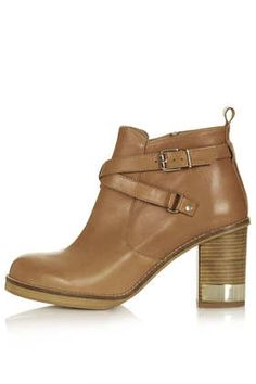Metal Trim Leather Boots