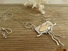 Original Fish Necklace -  hand fabricated in sterling silver and brass by JoDeneMoneuseJewelry