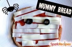 Halloween Mummy Bread (Pizza Toast). Cute #Halloween #lunch or #snack idea for #kids! | via @SparkPeople #fall #healthy #kidfriendly