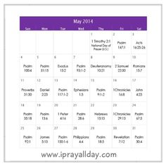May 2014 Prayer Calendar ~ Praise God always