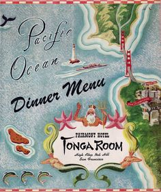 Vintage menu from the Tonga Room and Hurricane Bar in San Francisco