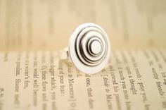 Large Silver Ring, sterling silver ring, big silver ring, round silver ring, Layered Disc Ring