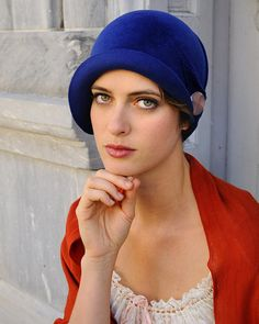 Blue cloche hat by Behida Dolic