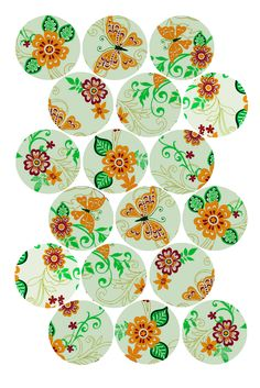 "Fun Flowers Pattern (gold and green) Bottle cap image pack Formatted for printing on 4"" x 6"" photo paper"