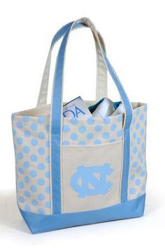 University of North Carolina (UNC) Tar Heels Polka Dot tote- cute!!