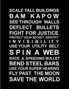 Superheros poster  black print by HarperGrace on Etsy, $28.95