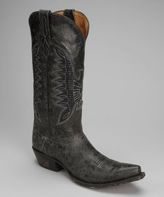 Take a look at this Barn Black Leather T-Toe Eagle Distressed Western Boot - Women by Johnny Ringo Boots on #zulily today!