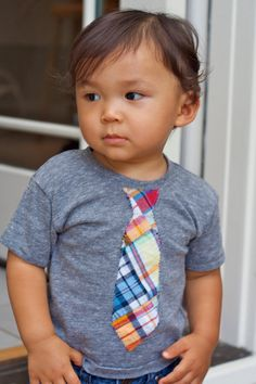 Short Sleeve Boys Heather Grey tee with Plaid by GrassandClovers, $48.00