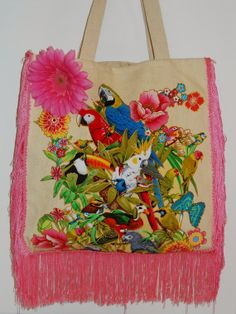 #Canvas Spring #Tote Bag  Custom Hand Painted Colorful #Fabric #Applique by paulagsell, $52.00