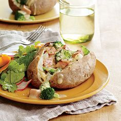 Broccoli and Cheddar Stuffed Potatoes | MyRecipes.com