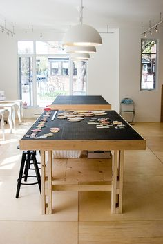 work tables at Emeline & Annabelle by Emeline & Annabelle, via Flickr studio, emelin, offic, sewing atelier, workshop interior, work table, craft rooms