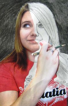we took photographs of students posing as if they were erasing their faces. The students cut out an area of the photograph, glued the remaining portion of the photo onto paper, and used pencil to draw the missing portion of their faces.