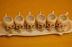 Vintage Dresden China Skeleton  Skull Cups & Serving  Tray