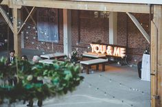 wedding warehouse, marque letter, warehouse wedding decor, string lights, diy light